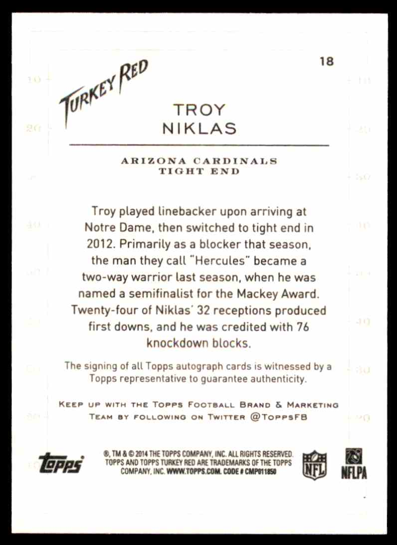 2014 Topps Turkey Red Autographs Troy Niklas #18 card back image