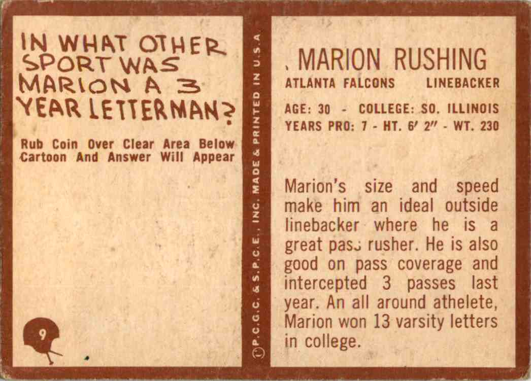 1967 Philadelphia Marion Rushing #9 card back image