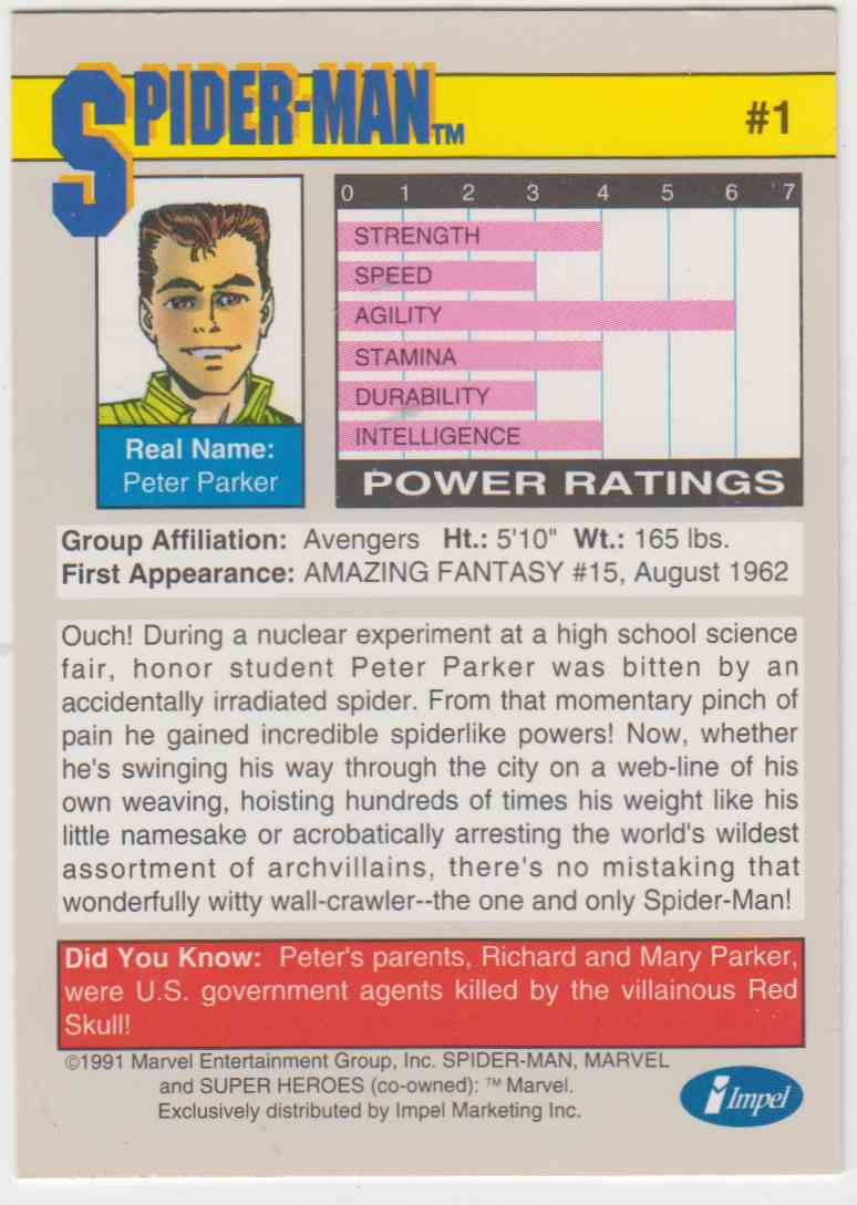 1991 Impel Marvel Universe Spider-Man #1 card back image