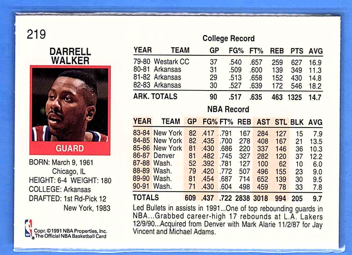 1991-92 Hoops Darrell Walker #219 card back image