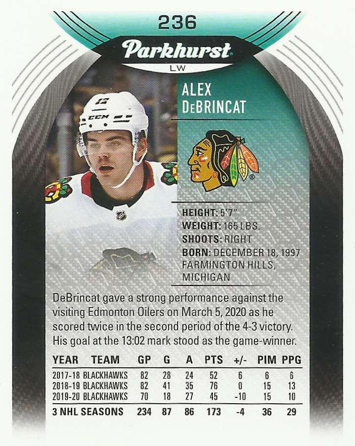 2020-21 Parkhurst Alex Debrincat #236 card back image