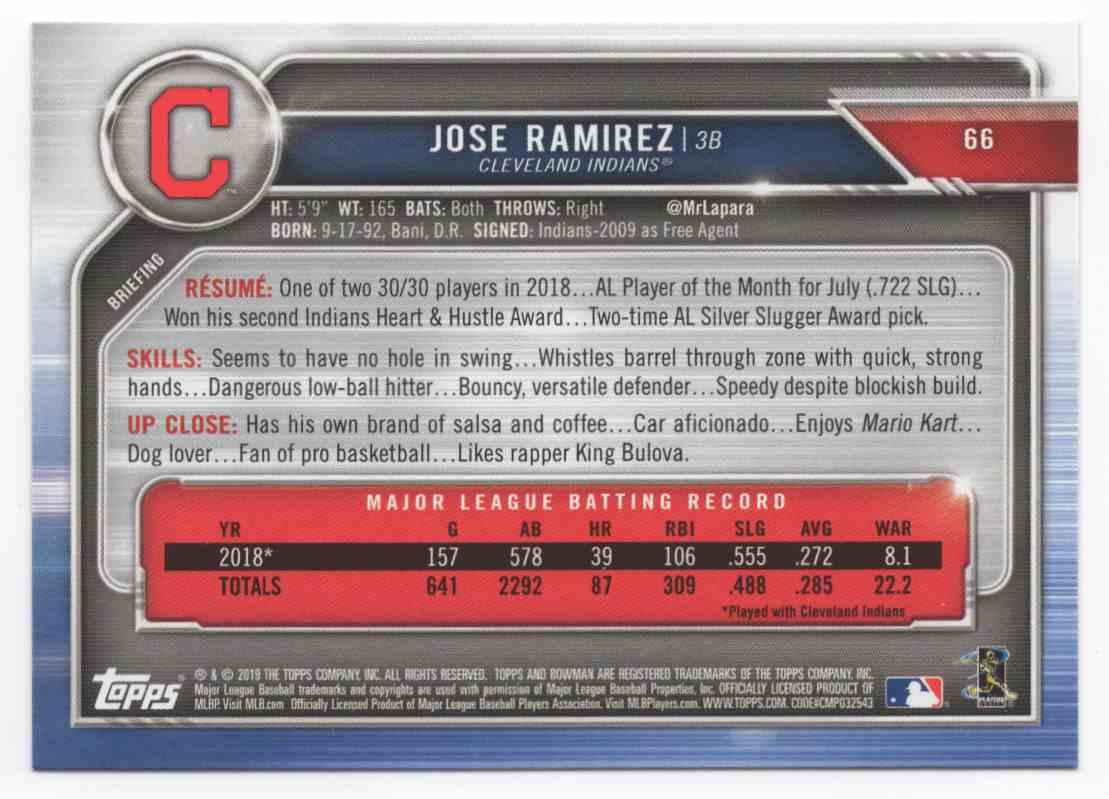 2019 Bowman Jose Ramirez #66 card back image