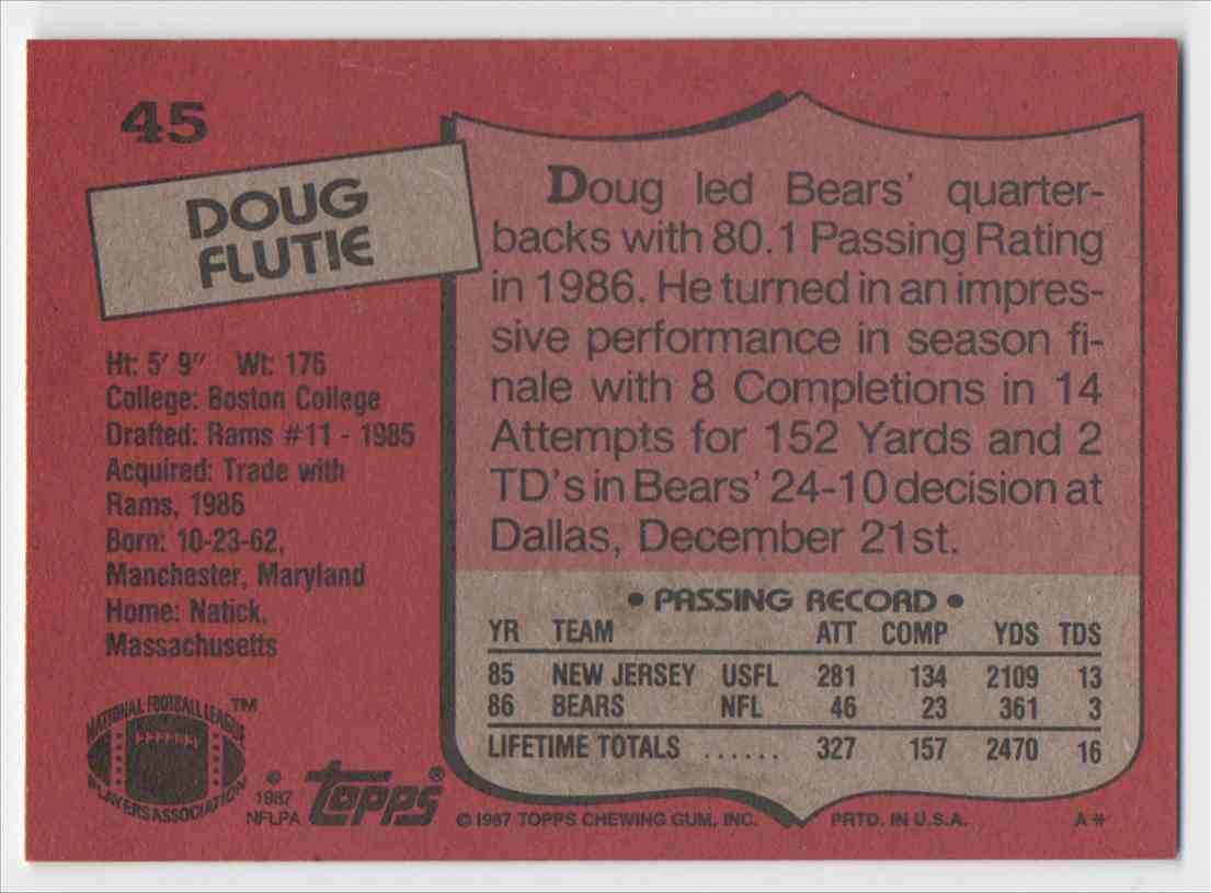 1987 Topps Doug Flutie #45 card back image