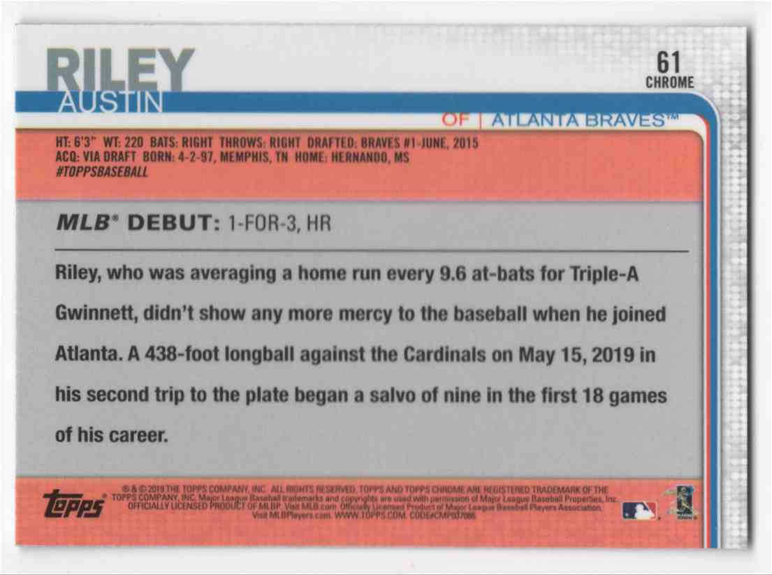 2019 Topps Chrome Update Austin Riley Rd #61 card back image