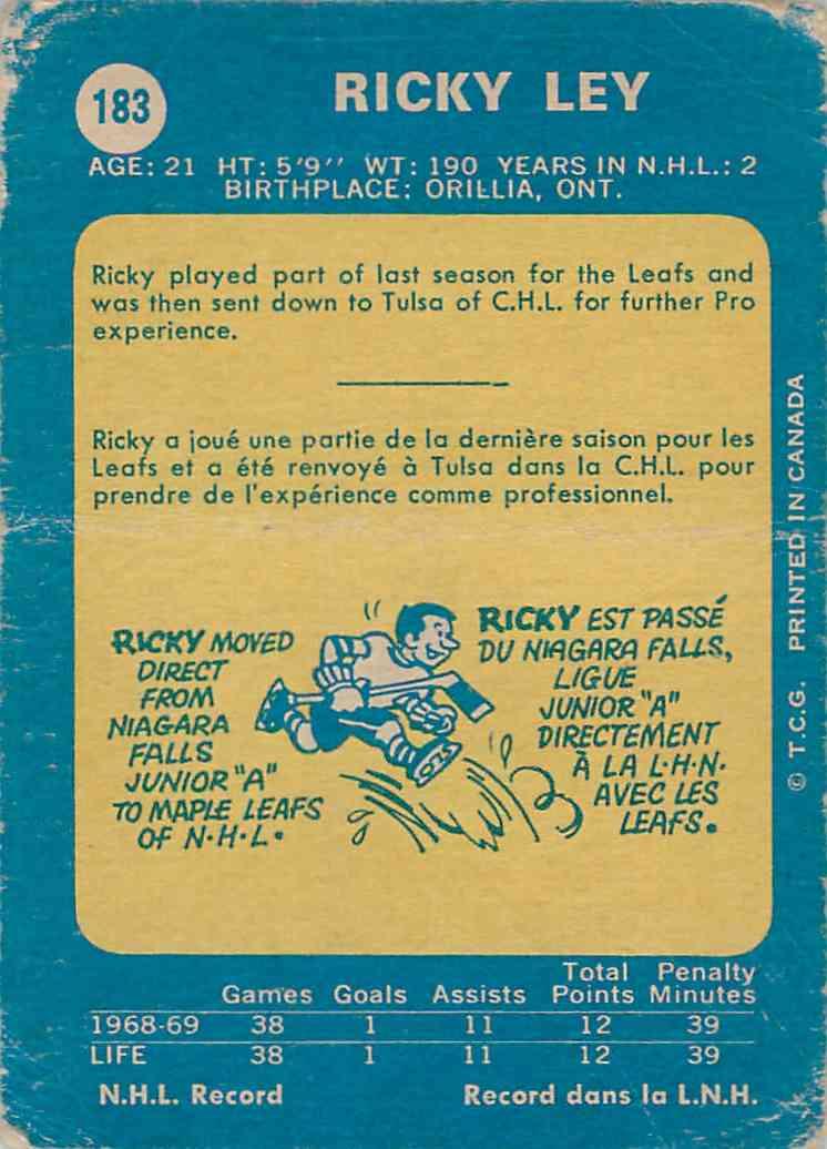 1969-70 O-Pee-Chee Ricky Ley #183 card back image