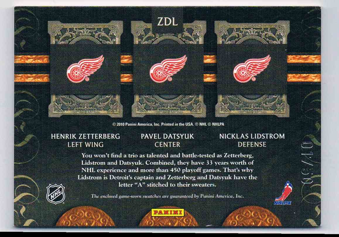 2010-11 Panini Crown Royale Lineage Henrik Zetterberg Pavel Datsyuk Nicklas Lidstrom #ZDL card back image