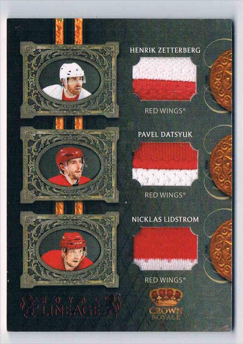 2010-11 Panini Crown Royale Lineage Henrik Zetterberg Pavel Datsyuk Nicklas Lidstrom #ZDL card front image