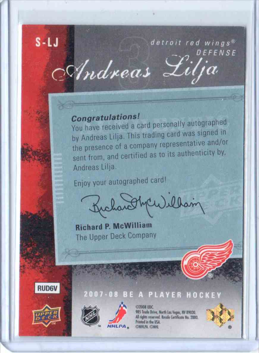 2007-08 Be A Player Signatures Andreas Lilja #S-LJ card back image