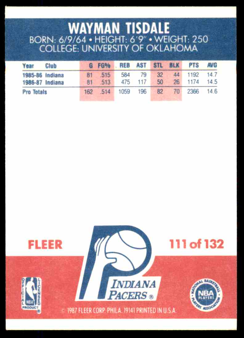 1987-88 Fleer Basketball Wayman Tisdale #111 card back image