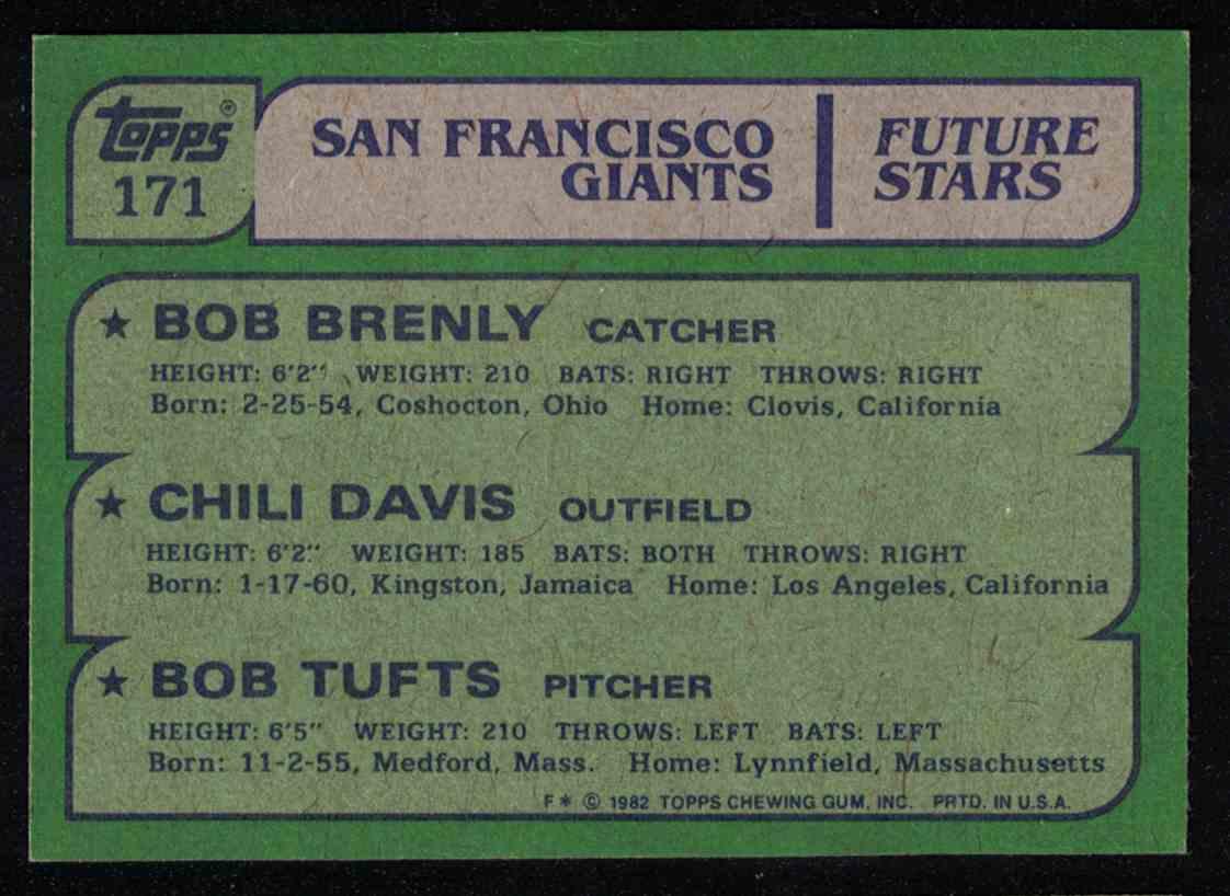 1982 Topps Chili Davis, Bob Brenly NM #171 card back image