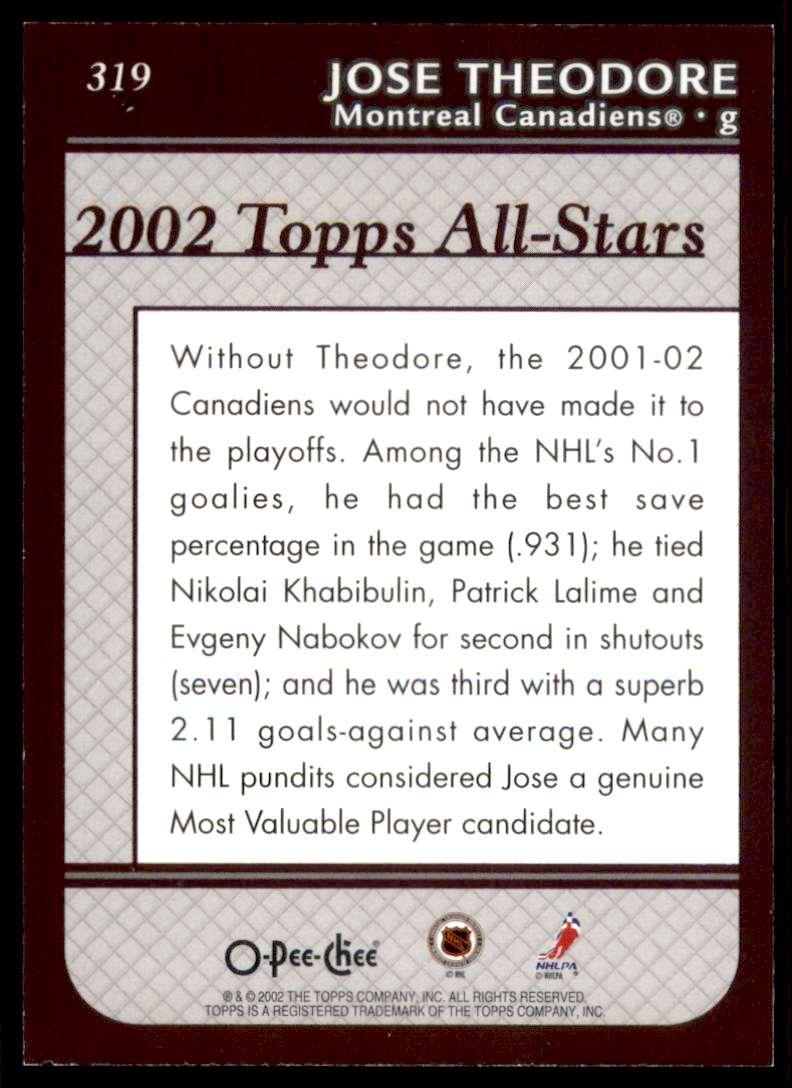 2002-03 O-Pee-Chee Jose Theodore #319 card back image