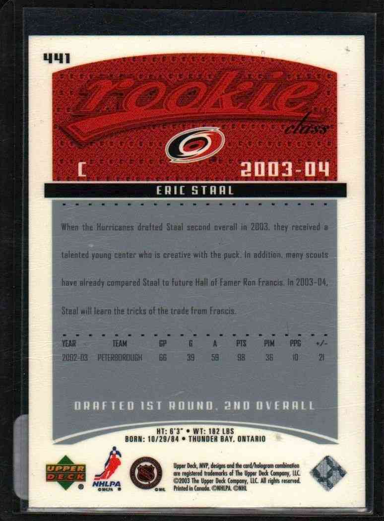 2003-04 Upper Deck MVP Eric Staal #441 card back image