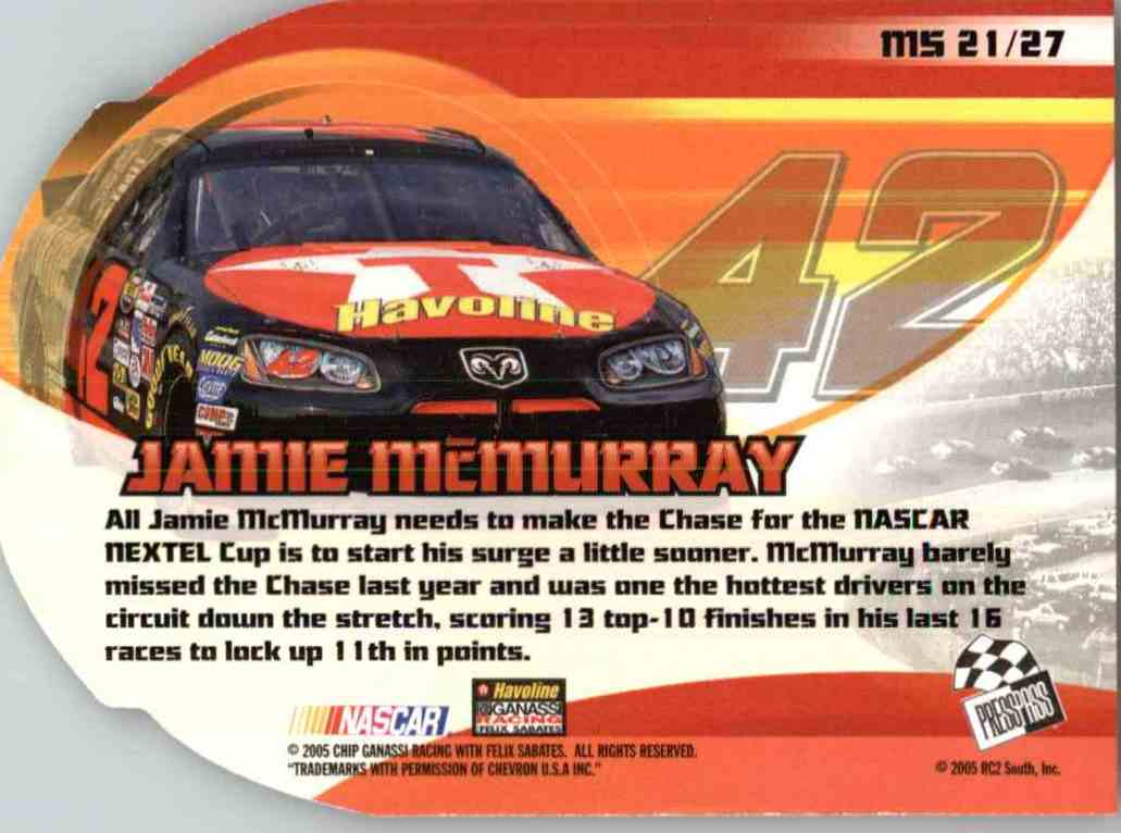 2005 Press Pass Vip Jamie Mcmurray #MS21 card back image
