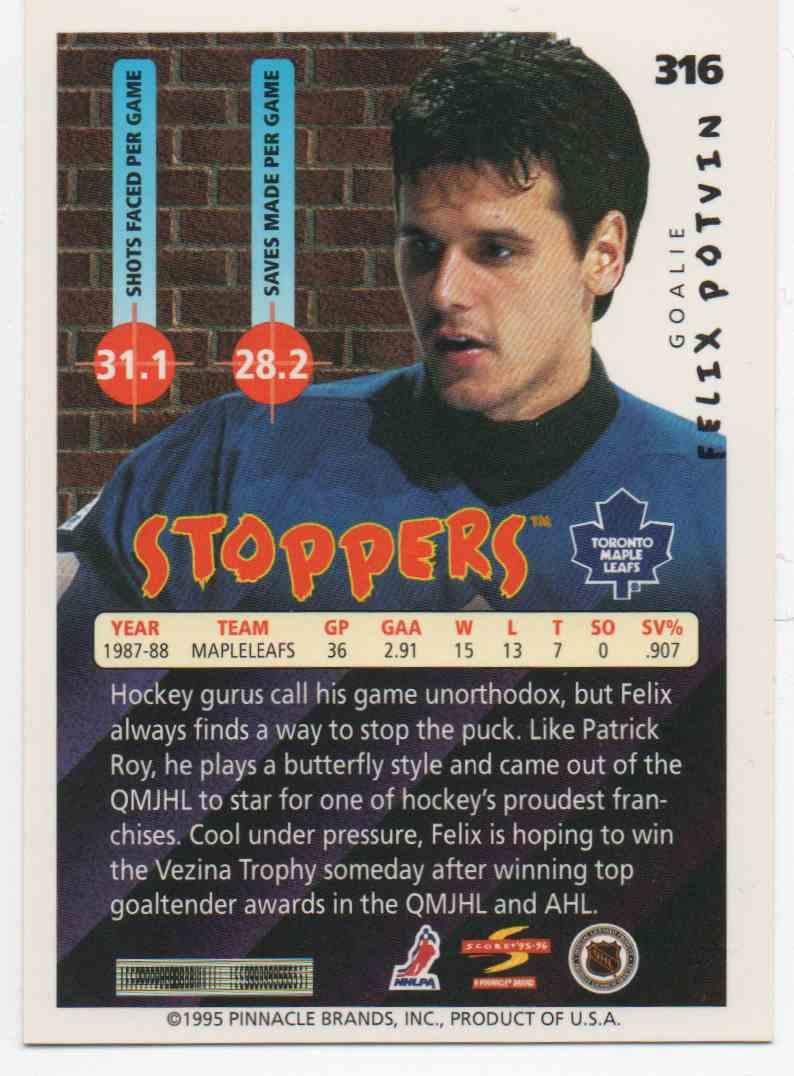 1995-96 Score Felix Potvin #316 card back image