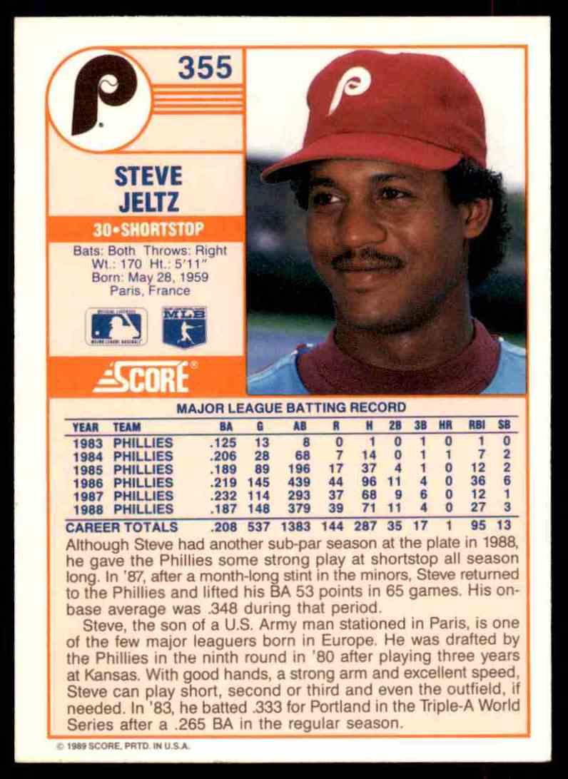 1989 Score Regular Steve Jeltz #355 card back image