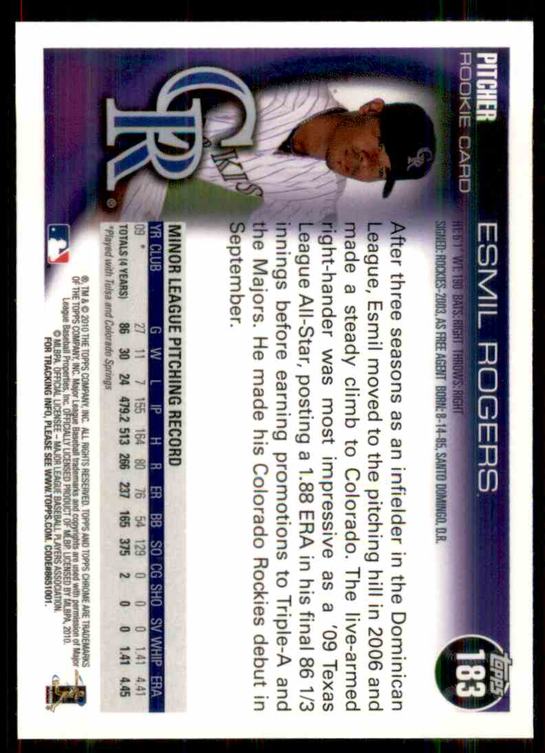 2010 Topps Chrome Esmil Rogers #183 card back image