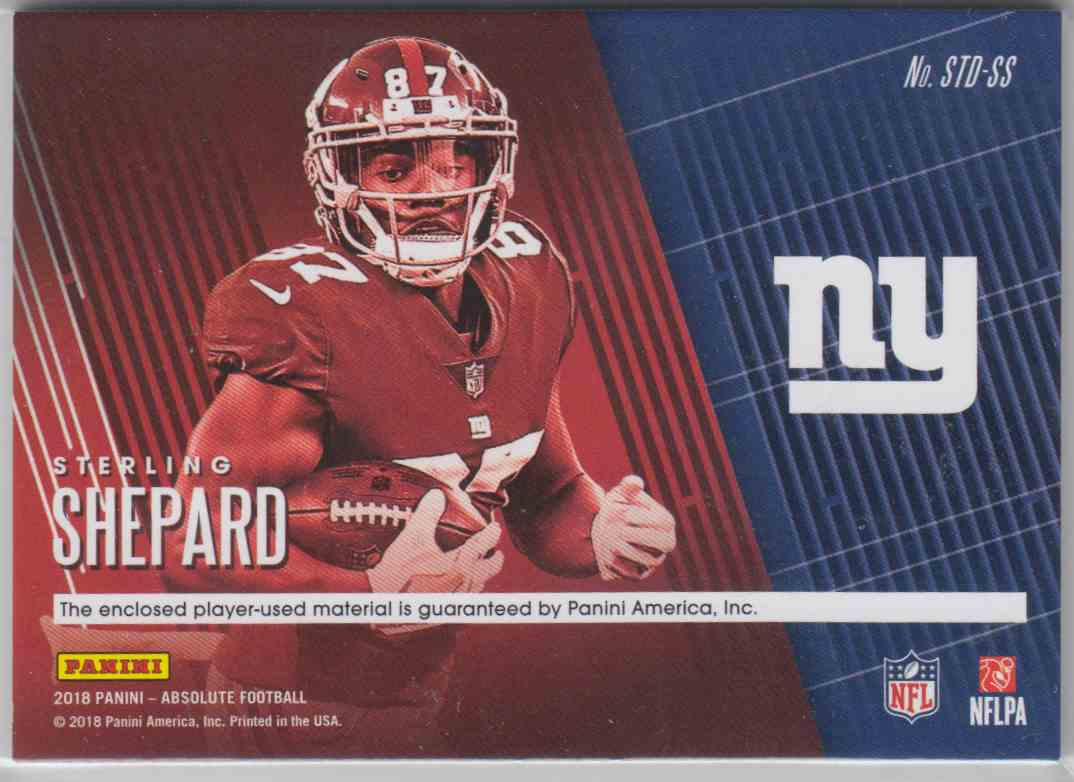 2018 Panini Absolute Tools Of The Trade Double Prime Sterling Shepard #STD-SS card back image