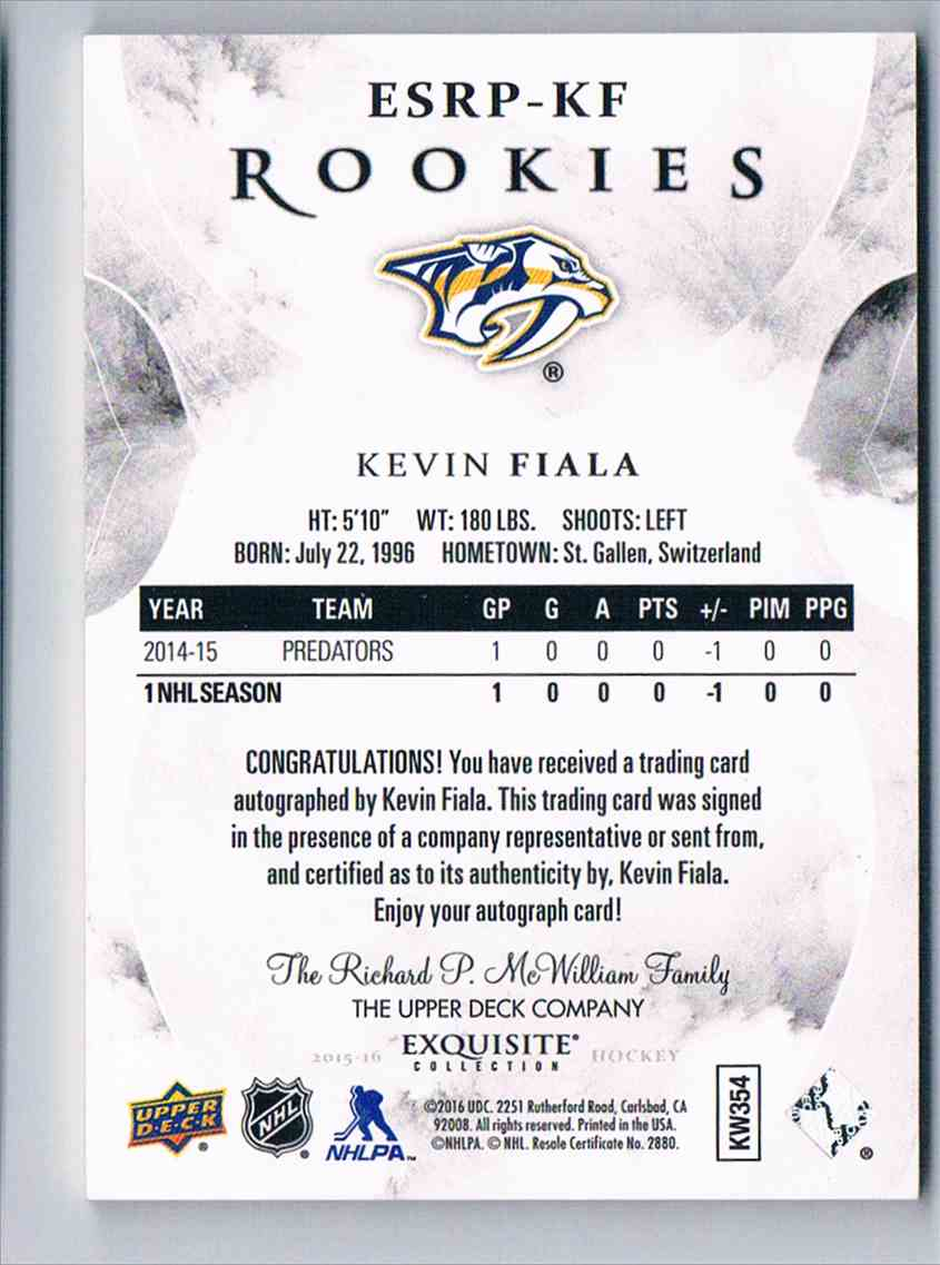 2015-16 Upper Deck Exquisite Collection Rookies Signatures Kevin Fiala #ESRP-KF card back image