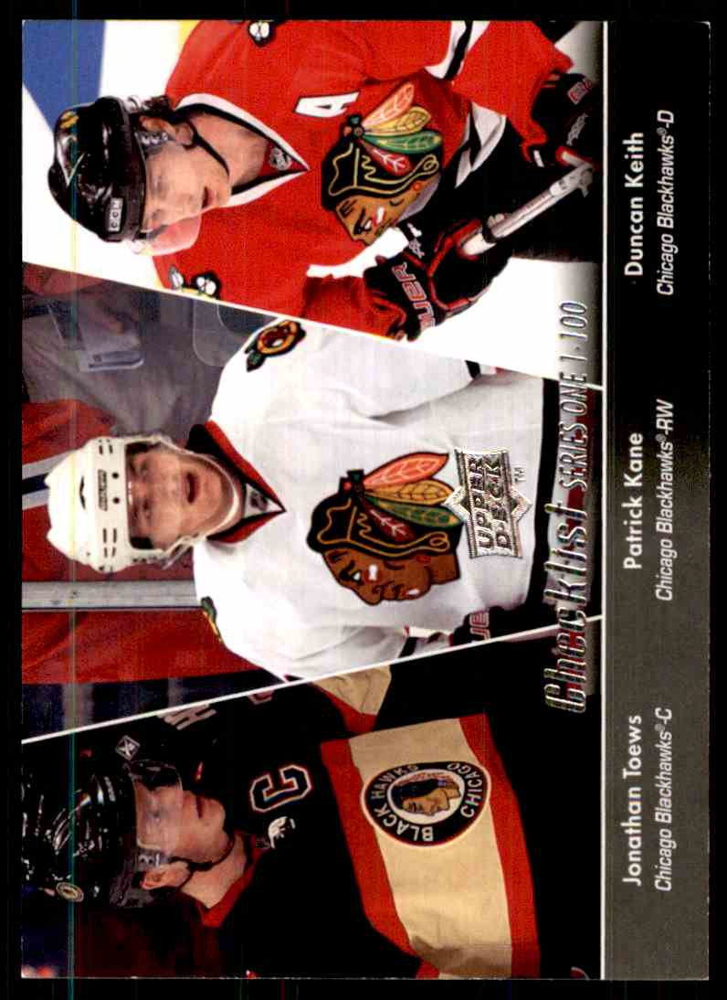 2010-11 Upper Deck Jonathan Toews/Duncan Keith/Patrick Kane CL #199 card front image