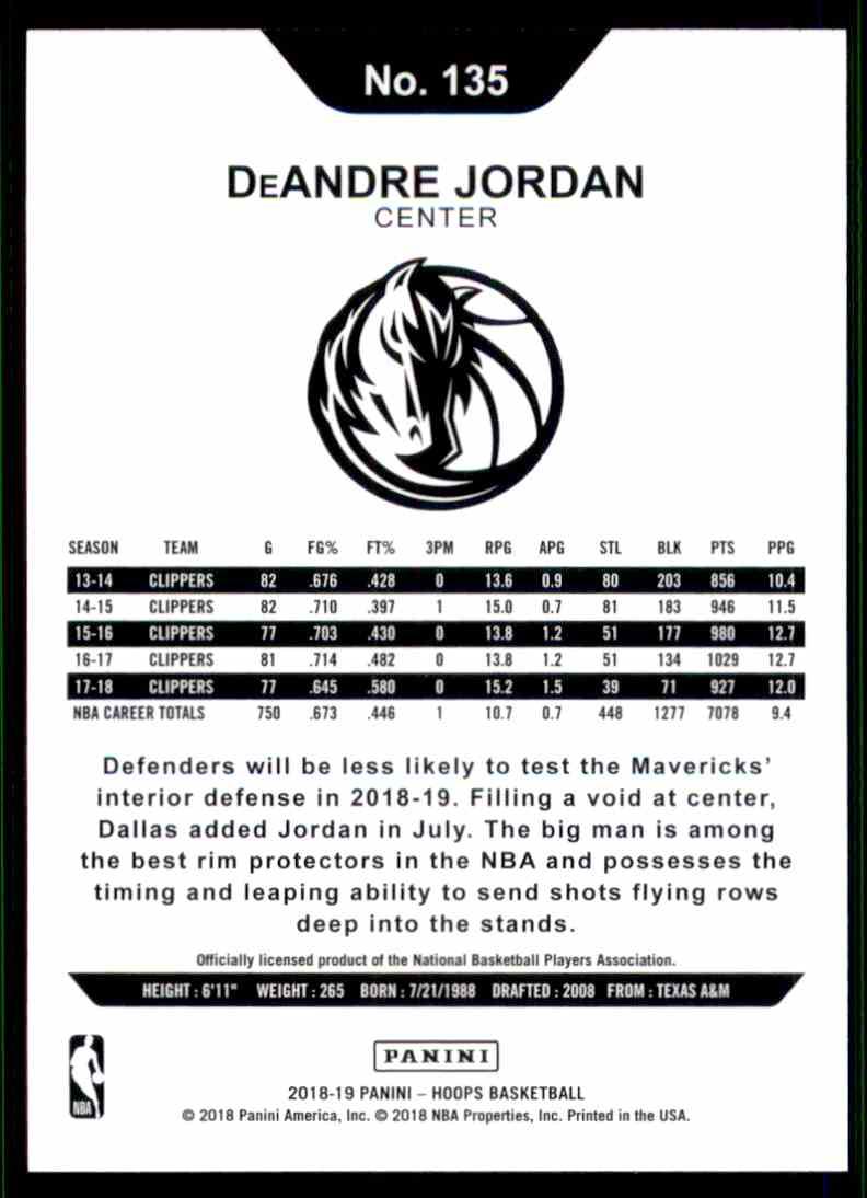 2018-19 Hoops DeAndre Jordan #135 card back image