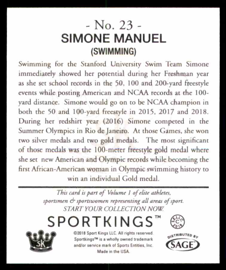 2018 Sportkings Black Back Retail Mini Simone Manuel #23 card back image