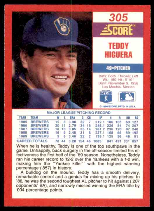 1990 Score Teddy Higuera #305 card back image