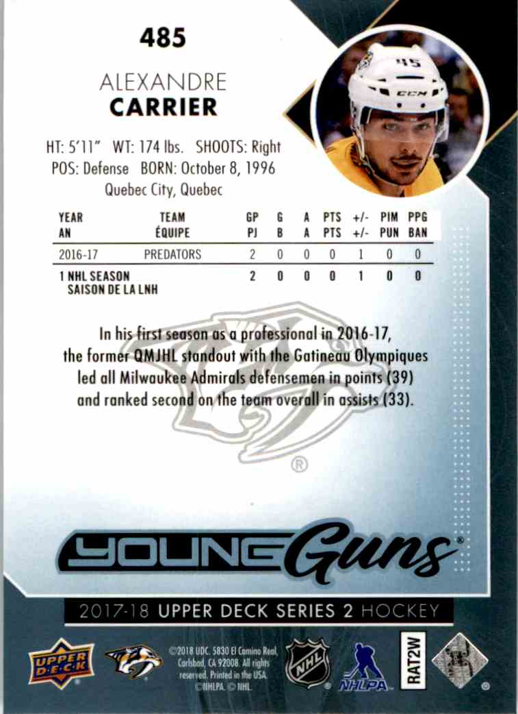 2017-18 Upper Deck Young Guns Alexandre Carrier #485 card back image