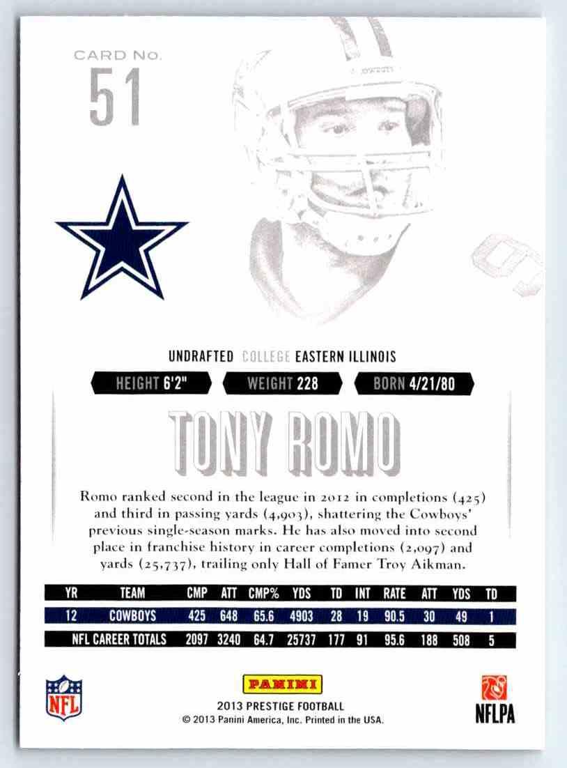 2013 Prestige Tony Romo #51 card back image
