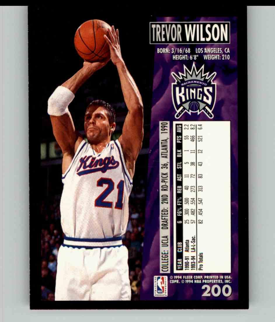 1994-95 Fleer Trevor Wilson #200 card back image