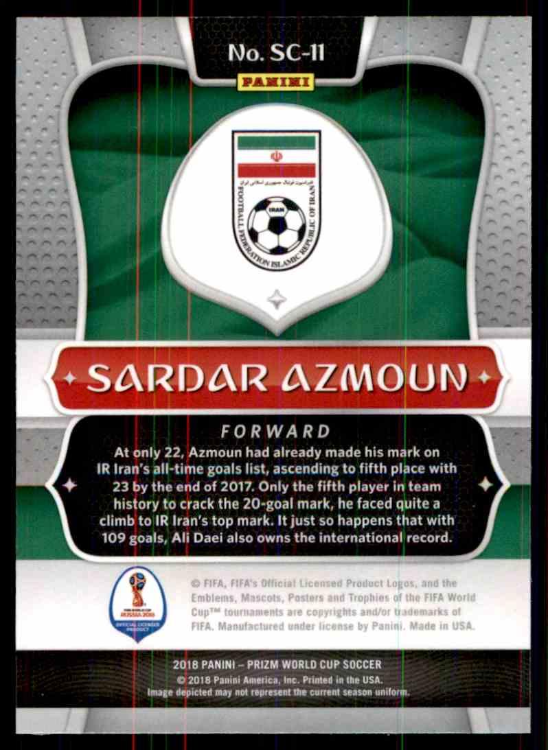 2018 Panini Prizm World Cup Scorers Club Sardar Azmoun #SC-11 card back image