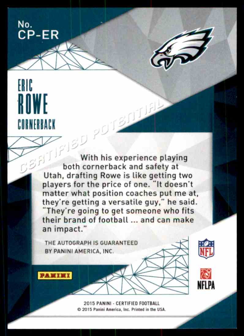 2015 Certified Eric Rowe card back image