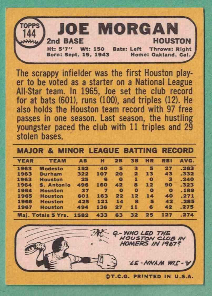 1968 Topps Joe Morgan EX+ surface wrinkle #144 card back image