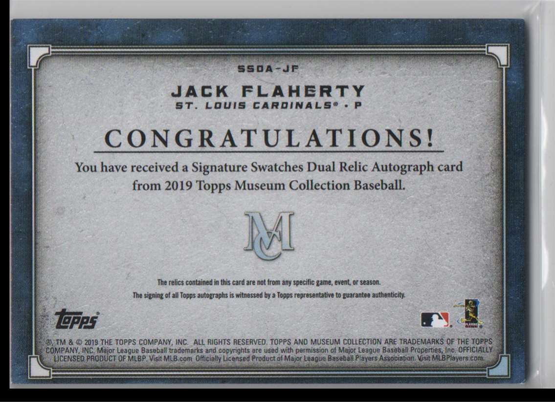 2019 Topps Museum Collection Signature Swatches Dual Relic Autographs Jack Flaherty #SSDA-JF card back image