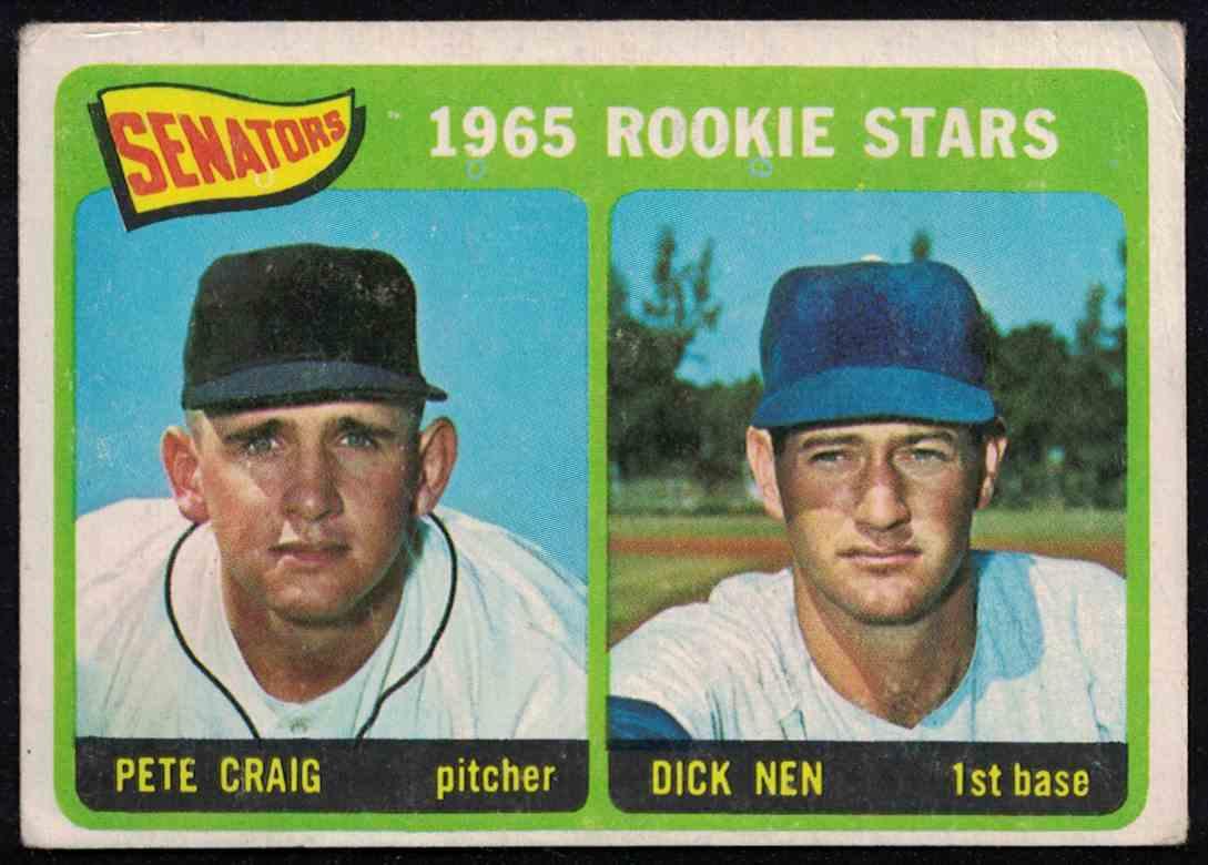 1965 Topps Senators Rookie Stars Pete Craig, Dick Nen VG-EX #466 card front image