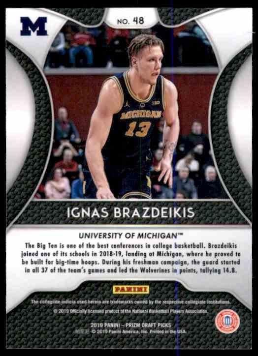 2019-20 Panini Prizm Draft Picks Ignas Brazdeikis #48 card back image