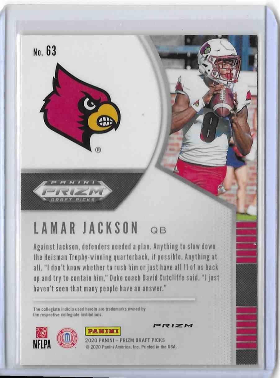 2020 Panini Prizm Draft Picks Red Lamar Jackson #63 card back image