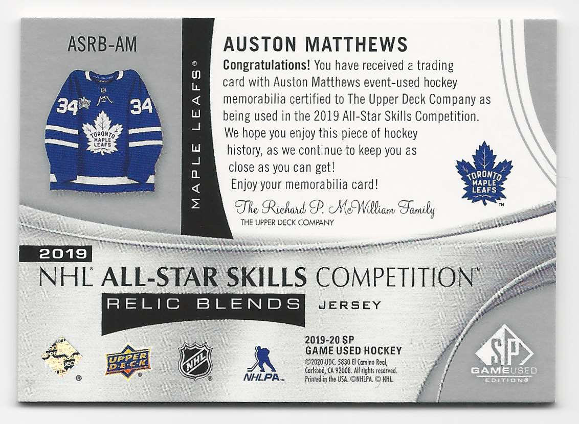 2019-20 SP Game Used 2019 All Star Skills Relic Blends Auston Matthews #ASRB-AM card back image