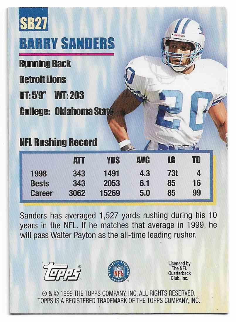 1999 Topps Season's Best Barry Sanders #SB27 card back image