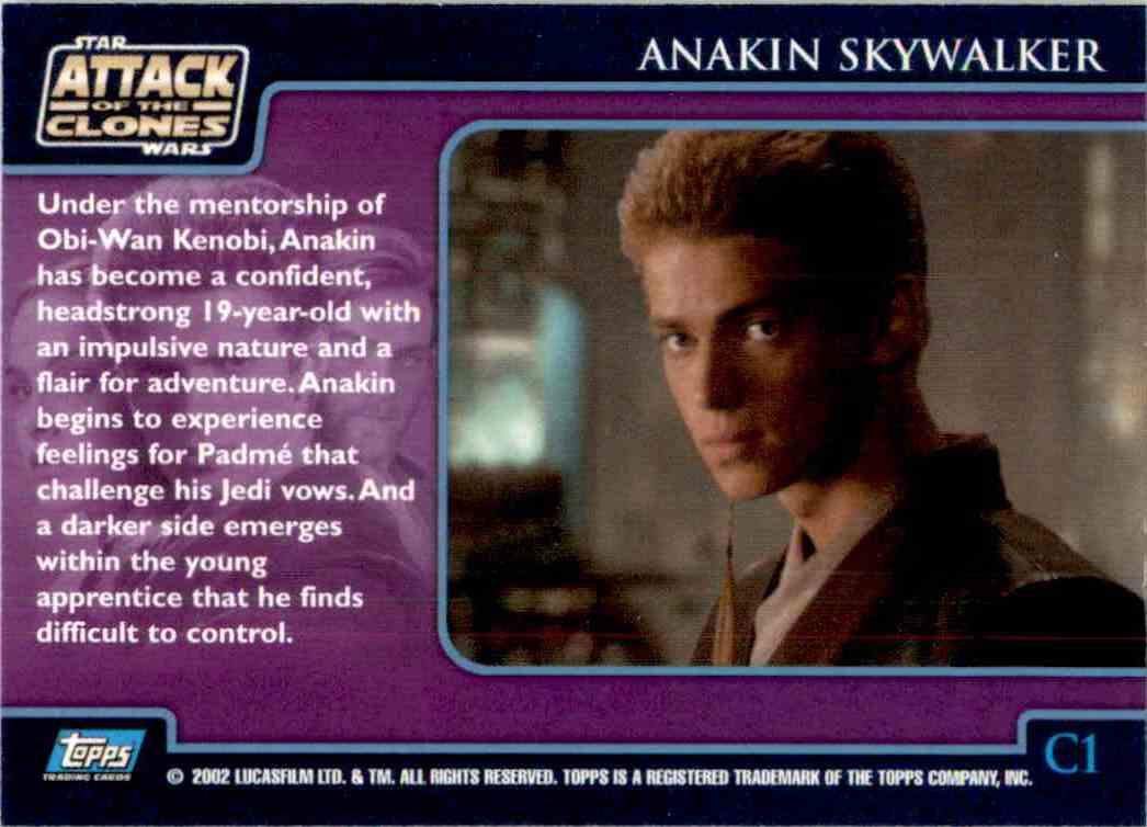 2002 Star Wars Attack Of The Clones Uk Character Foil Anakin Skywalker #C1 card back image