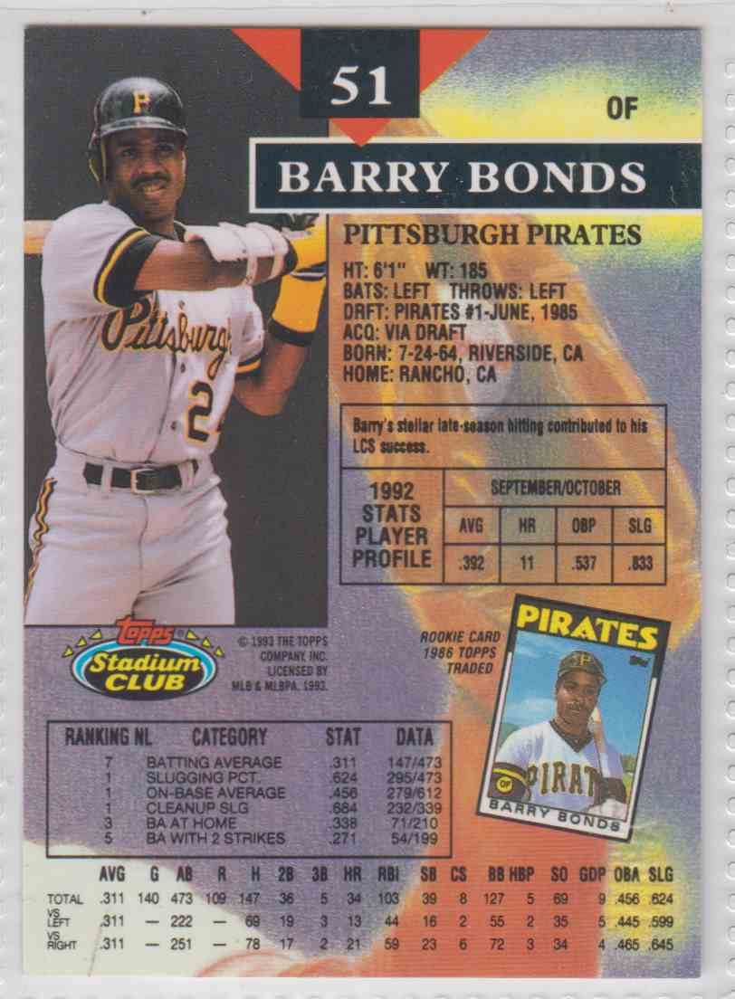 1993 Topps Stadium Club First Day Barry Bonds #51A card back image