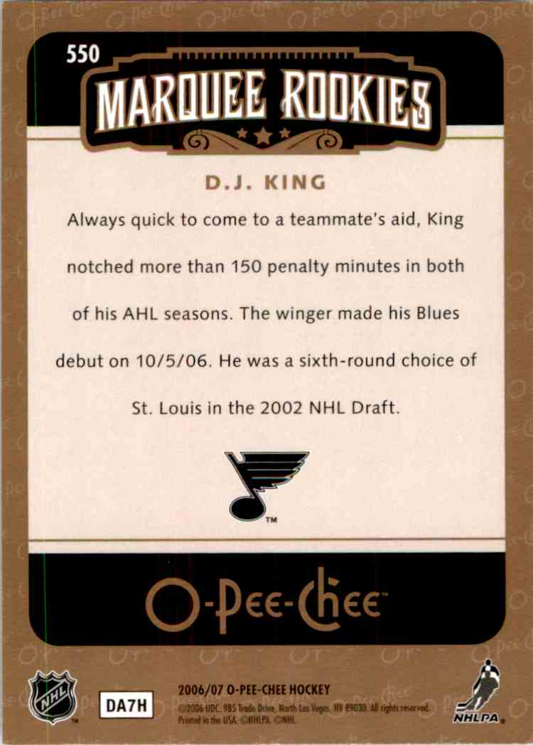 2006-07 O-Pee-Chee Marquee Rookie D.J.King #550 card back image