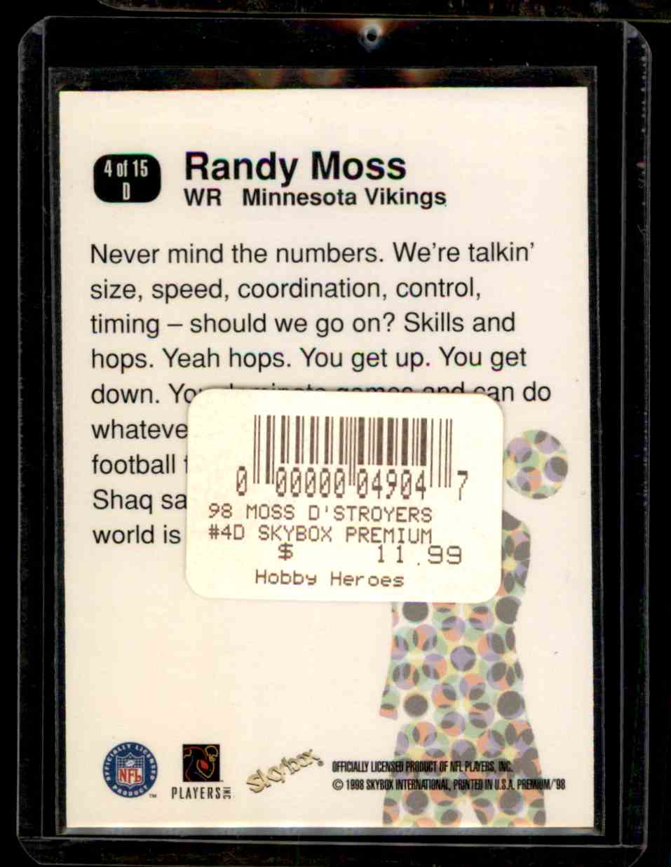 1998 Skybox Premium D'Stroyers Randy Moss #4D card back image
