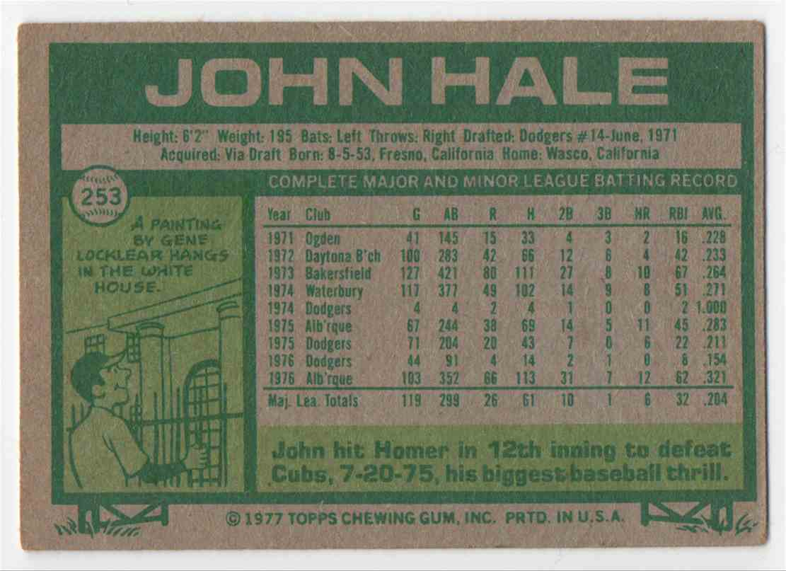1977 Topps John Hale #253 card back image