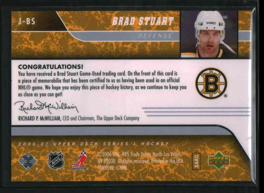 2006-07 Upper Deck Series 1 Brad Stuart #J-BS card back image