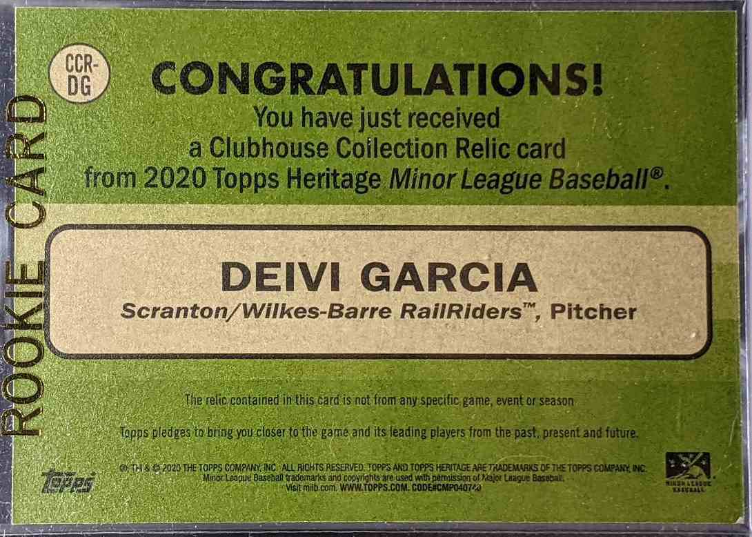 2020 Topps Heritage Clubhouse Collection Deivi Garcia #CCR-DG card back image