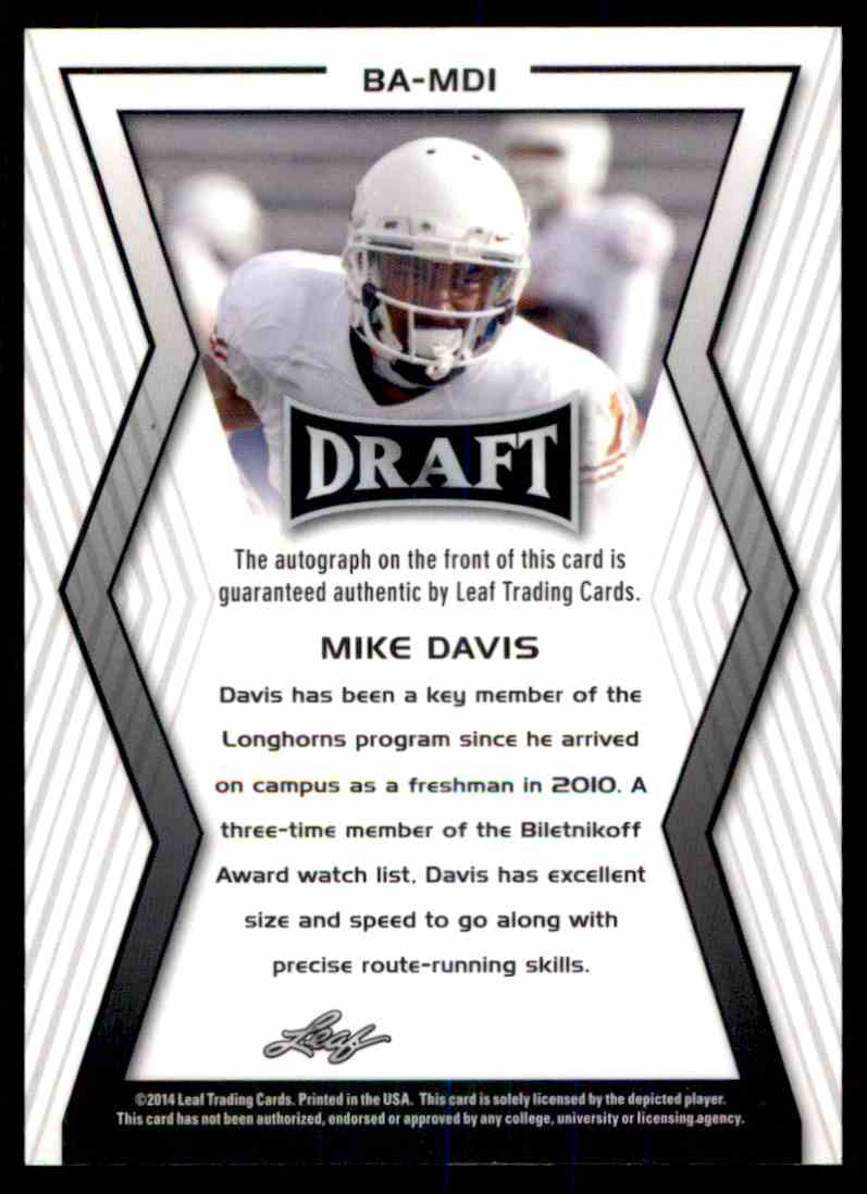 2014 Leaf Metal Draft Mike Davis card back image