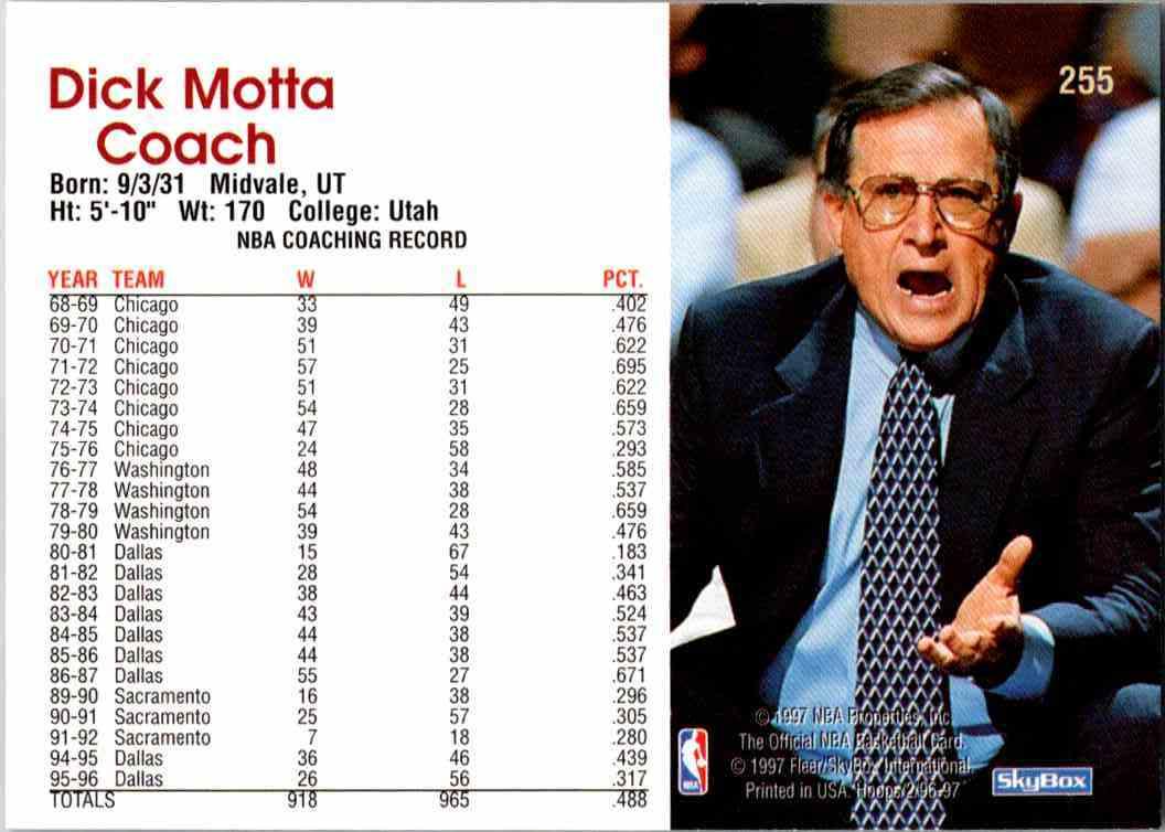 1997-98 NBA Hoops Dick Mottau #255 card back image