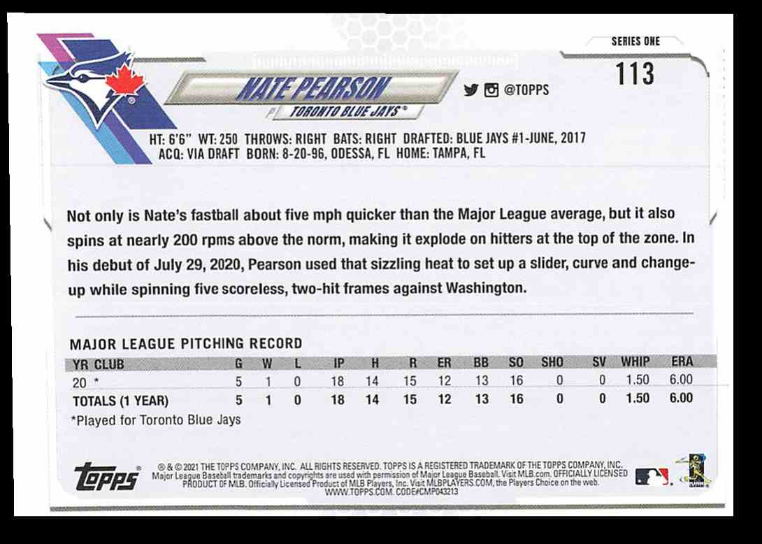 2021 Topps Series 1 Nate Pearson #113 card back image