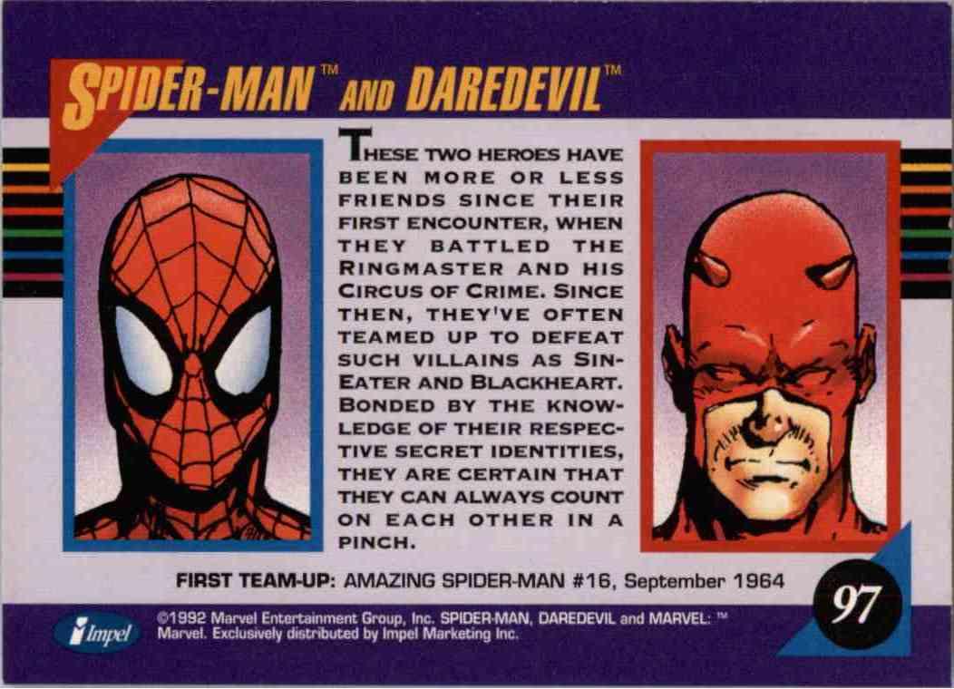 1992 Marvel Spider-Man And Daredevil #97 card back image