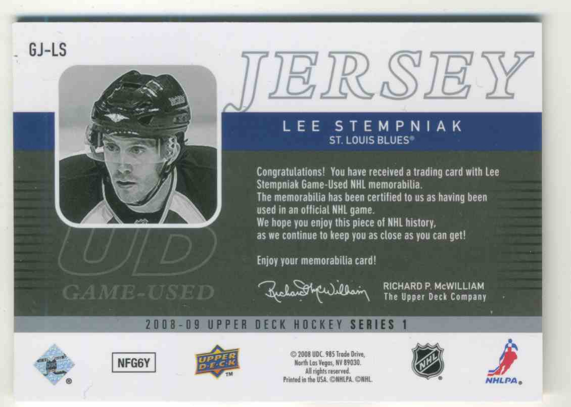 2008-09 Upper Deck Game Jerseys Lee Stempniak #GJ-LS card back image